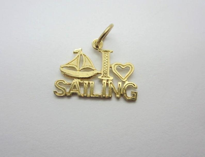 10k Yellow Gold I love Sailing Sailing Jewellery Nautical image 0