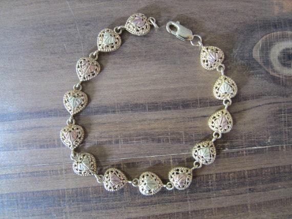 10k Gold Bracelet, Heart Bracelet, Gold Hearts, Go