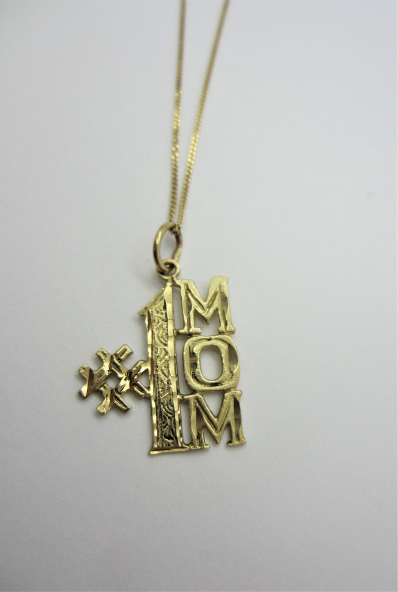 10K Yellow Gold 1 MOM Charm image 0