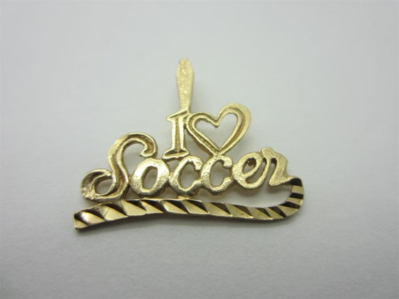 "10K Yellow Gold ""I Love Soccer"" Charm, Sports Char"