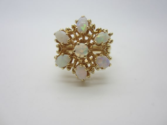 14k Gold Opal Ring, Floral Style Opal Ring, Vintag
