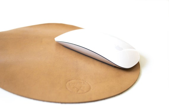 premium leather mousepad natural waxed leather circular