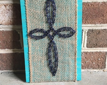 Rustic Burlap and String Art Cross Wood Sign Christian Wall Art Home Decor