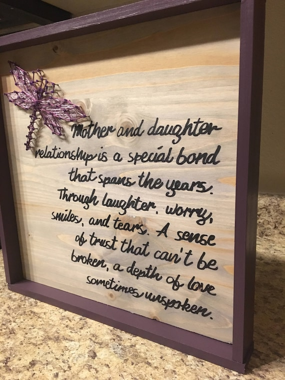Mother Daughter Quote Dragonfly String Art Wood Sign Wall Art Home Decor