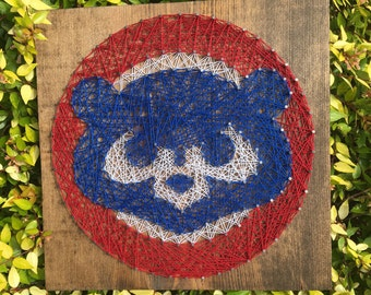 Chicago Cubs Baseball Sports Fan String Art Wood Sign Sports Team Man Cave Home Decor Wall Art-MADE TO ORDER