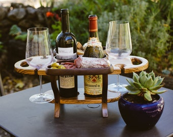 Wine Caddy, Wine Accessory, Wine Bottle Holder, Wine Carrier, Wine Rack Wine and Cheese Tray, Wedding Gift, Wine Gift,