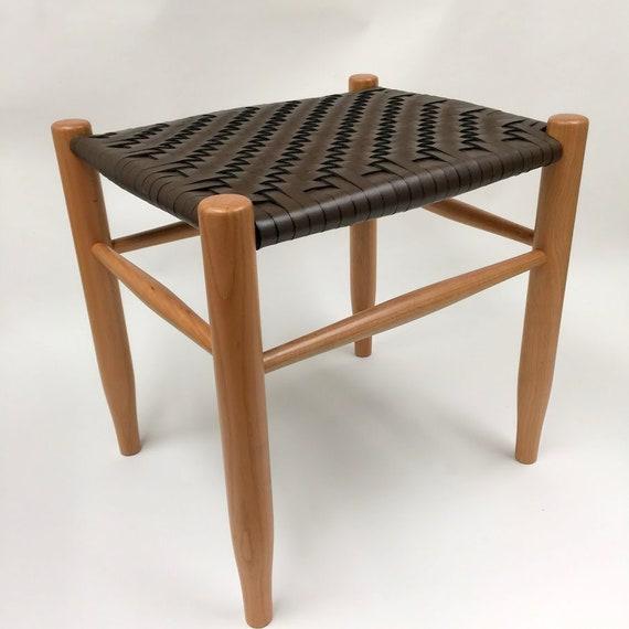 Strange Wood Stool Hand Woven Leather Seat Chair Farmhouse Stool Leather Ottoman Leather Stool Bench Lamtechconsult Wood Chair Design Ideas Lamtechconsultcom