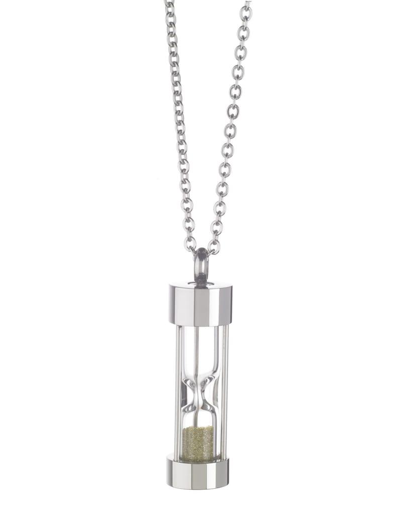 Hourglass Necklace green diamond dust
