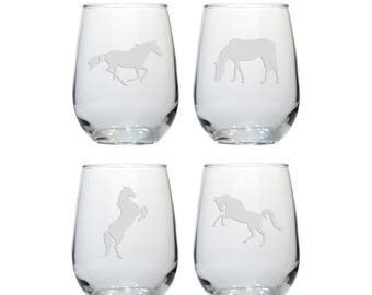 Horse Stemless Wine Glasses - Set of 4 - Free Personalization - Running, Prancing, Grazing, Rearing Horses - Personalized Gift