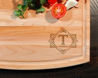Monogram Maple Cutting Board - Personalized Custom Initial Engraved Wood Cutting Board - Anniversary Gift