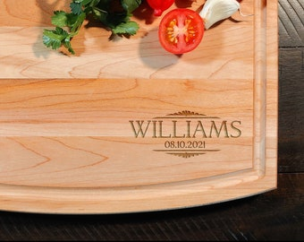 Maple Cutting Board - Personalized Custom Name Engraved Board - Gift for all Occasions