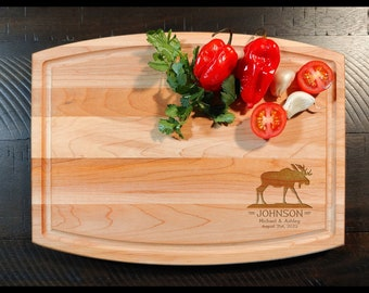 Moose Maple Cutting Board - Personalized Engraved Moose Wood Cutting Boards - Custom Animal Cutting Board