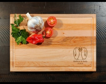 Kissing Penguins Maple Cutting Board - Personalized Custom Engraved Name and Monogram Rectangular Wood Cutting Board