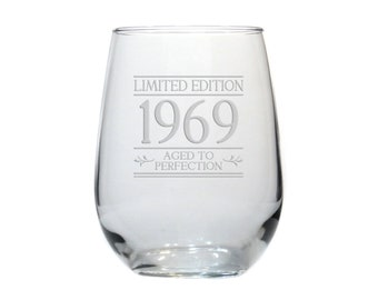 331cb675d03 Limited Edition Birthday 17 oz Etched Stemless Wine Glass - Free  Personalization - Aged to Perfection - Personalized Gift