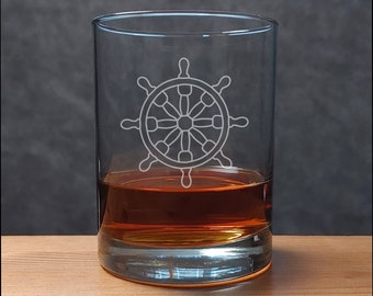 Ships Wheel Whisky Glass  - Free Personalization - Sand  Etched Personalized Gift