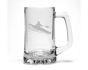 Kayaker Beer Mug - Free Personalization - Water Sports Pint Glass - Personalized Gift