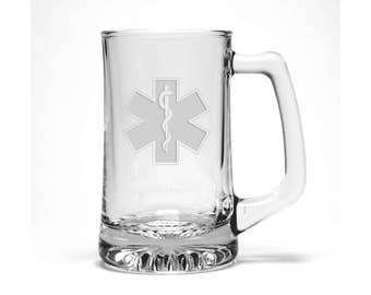 EMS: Emergency Medical Services Beer Mug - Free Personalization - Personalized Gift