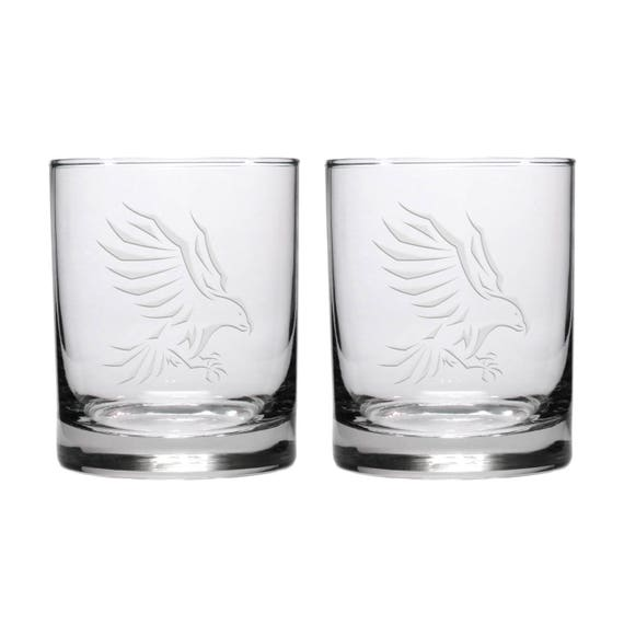 Personalised Engraved Whisky Glass With Eagle Design