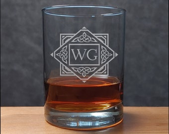 Celtic Monogram Whisky Glass,  Gift for Dad, Perfect Groomsman Gift, Wedding, Sand Etched Family Personalized Glass,