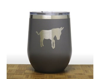 Donkey Insulated Stemless Wine Tumbler with Lid - Free Personalization - Personalized Gift