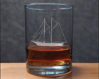 Sailing Ship Whiskey Glass - Etched Personalized Gift - Free Personalization - Etched Bourbon Glass