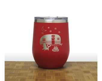 Camper Wine Stemless Wine Tumbler - Personalized Insulated Stainless Steel - Personalized Gift