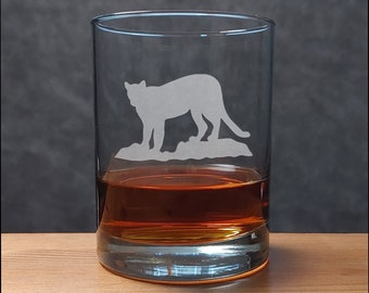 Cougar Whisky Glass - Free Personalization - Wildlife Personalized Gift