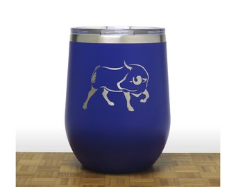 Bull Insulated Stemless Wine Tumbler - Design 2 - Free Personalization - Personalized Gift