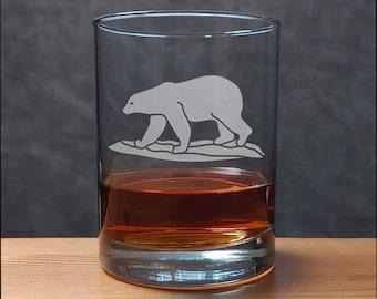 Polar Bear Whiskey Glass - Free Personalization - Wildlife Personalized Gift