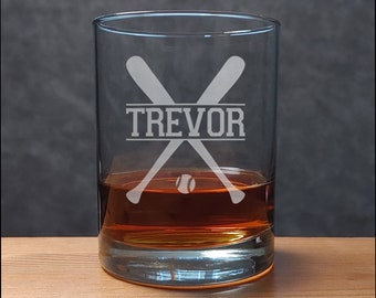 Baseball Whisky Glass - Sports Personalized Gift - Baseball Team Player Etched Whiskey Glass