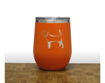Beagle Insulated Stemless Wine Tumbler - Free Personalization -  Dog Lovers Personalized Gift