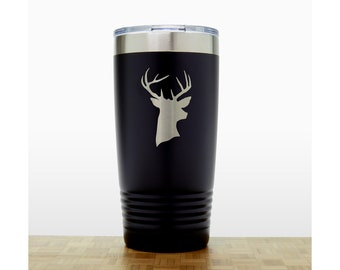 Stag Head Personalized 20 oz Insulated Stainless Steel Tumbler - Quality Laser Engraved Travel Mug - Animal Polar Camel Tumbler