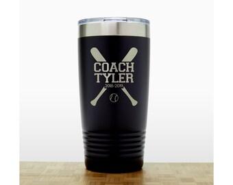 Baseball Coach Personalized Insulated Stainless Steel Tumbler - Quality Laser Engraved Travel Mug - Coach 20 oz Polar Camel Tumbler