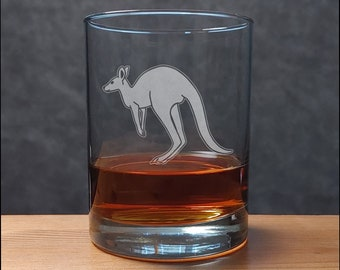 Kangaroo Whisky Glass  - Free Personalization - Etched Personalized Gift