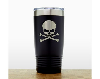 Skull and Crossbones Personalized Insulated Stainless Steel Tumbler - Quality Laser Engraved Travel Mug - 20 oz Polar Camel Tumbler