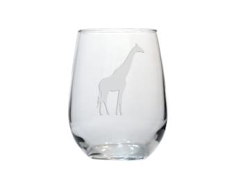 Giraffe Stemless Wine Glass - Free Personalization - Animal Lovers Personalized Gift