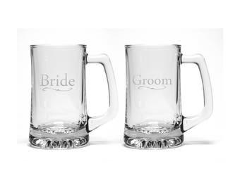 Bride & Groom Beer Mugs - Set of 2 - Free Personalization -  Wedding Personalized Gift