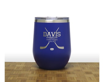 Personalized Hockey Manager Stemless Wine Tumblers - Free Personalization - End of Season Gift