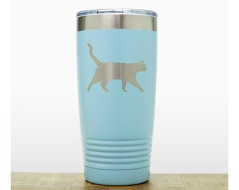 Cat 20oz Insulated Stainless Steel Tumbler - Design 4 -  Personalized Quality Laser Engraved Travel Mug