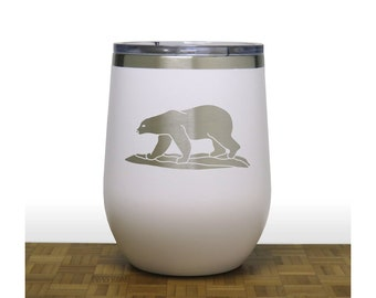 Polar Bear Insulated Stemless Wine Tumbler - Free Personalization - Personalized Gift