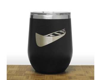 Canoe Wine Stemless Wine Tumbler - Design 2 - Insulated Stainless Steel - Personalized Gift