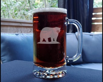 Bear Etched Beer Mug - Animal Personalized Gift - Free Personalization