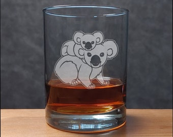 Koala and Baby Whisky Glass - Free Personalization - Sand Etched Personalized Gift