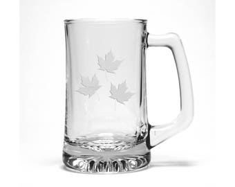 Maple Leaves Etched Beer Mug - Free Personalization - Maple Leaf Pint Glass - Personalized Gift