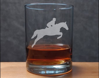 Horse and Rider Etched Whisky Glass - Free Personalization - Equine Personalized Gift