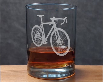 Road Bike Whiskey Glass - Bicycle Personalized Gift - Free Personalization