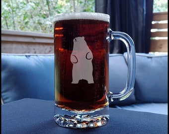 Standing Bear Etched Beer Mug - Animal Personalized Gift - Free Personalization
