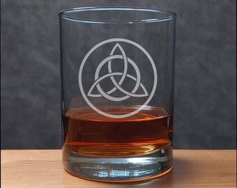 Celtic Whisky Glasses - Design 6 - Free Personalization - Etched Personalized Gift