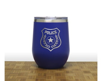 Police Insulated Stemless Wine Tumbler - Free Personalization - Personalized Gift for Graduate
