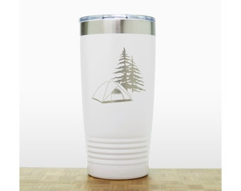 Camping Engraved Insulated Stainless Steel Tumbler - Design 2 - Camping in the Woods 20 oz Polar Camel Travel Mug Personalized Gift